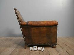 Antique Vintage Deep Studded Leather Club Chair c1900 Victorian French Armchair