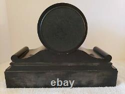 Antique Working 1800's French Victorian Black Marble Slate Mantel Shelf Clock