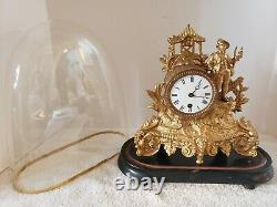 Antique Working 1800s French Victorian Gold Gilt Figural Glass Dome Mantel Clock
