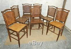 Antique faux bamboo french chairs, set of 6, caned seats & backs