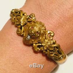 Antique gold fill Lion bracelet French Paste diamond & Ruby stones Victorian #2