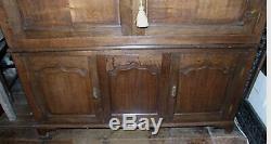 Antique oak low linen press 2 stage cupboard 147x135cm 4 door ogee TV cabinet