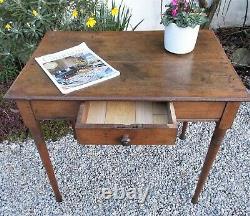 Antique side table/desk, French, polished oak