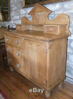 Antique small stripped pine French DRESSER SIDEBOARD 4ft glass knobs