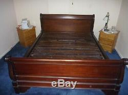 Antique solid mahogany sleigh bed. Gorgeous! King Size. Probably French
