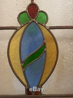 Antique victorian internal interior French double door leaded stained glass tall