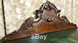 Architectural salvage scroll leaf pediment Antique french wooden crest cornice
