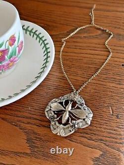 BUG Art NOUVEAU French Belle Époque Silver Honey BEE Bug Pendant Necklace Chain