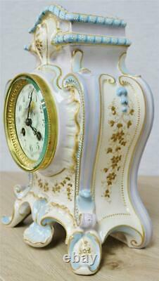 Beautiful Antique French 8 Day Hand Painted Hard Paste Porcelain Mantle Clock