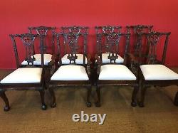 Beautiful Chippendale style Cuban Mahogany dining table set, Pro French polished