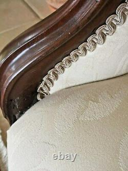 Beautiful Victorian, French Style, Walnut Cream Sofa