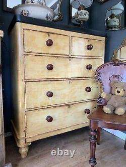 Beautiful Victorian Mahogany French Painted Mustard Ochre Chest Of Drawers