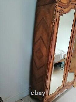Beautiful french antique armoire, wardrobe, twin mirror doors