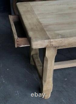 Bleached Oak French Normandy Farmhouse Refectory Dining Table C1900 Kitchen