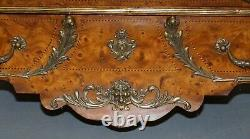 Circa 1900 French Burr Walnut Bronze Fittings Marble Top Bombe Chest Of Drawers