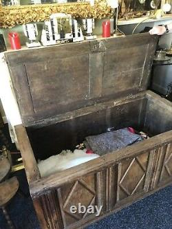 Exceptional 17th century Carved French Oak Mule Chest Coffer Cabinet Coffre