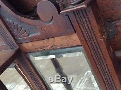 Exceptional Antique Victorian French Carved Mahogany Wall Overmantel Mirror