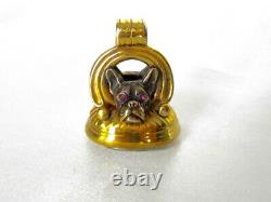Exceptional Lg. Victorian Gold & Silver French Bulldog Dogs Fob/Pendant Antique