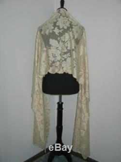 Exquisite Antique Victorian French Chantilly Lace ShawlMantilla Silk-22.5x102