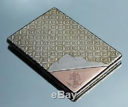 Extremely Rare Victorian French 18ct Gold Mounted Silver Gilt Calling Card Case