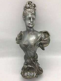 FAB! Antique 1900's French Spelter Metal Victorian Lady Bust 9 H