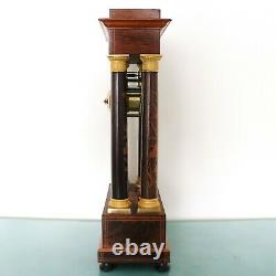FRENCH Mantel Clock Antique PILLAR 20 ROSEWOOD! Floral INLAY! Chime HIGH GLOSS