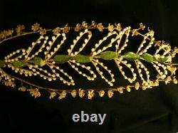 Fine Antique Bridal Wreath Headpiece Victorian French Wax Flower Crown Tiara