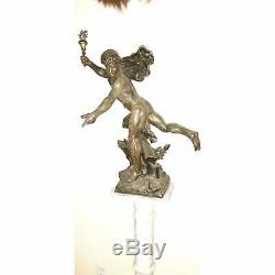 Fine Large! French Victorian Signed E. Picault. Spelter Statue Newel Post Lamp