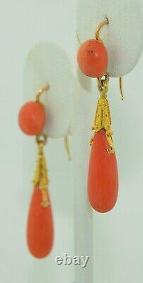 French 18K Etruscan Revival Coral Drop Victorian Earrings