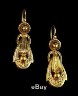 French Antique Day and Night 18k Gold Dangle Earrings, Victorian Era
