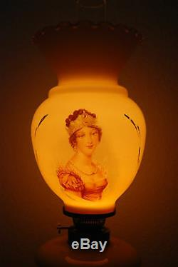 French Antique Napoleon Gwtw Old Oil Kerosene Banquet Victorian Glass Lamp