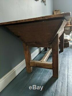 French Antique Oak Kitchen Dining Table Island Sideboard Dough Trough