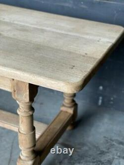 French Bleached Oak Farmhouse Refectory Kitchen Dining Table C1910