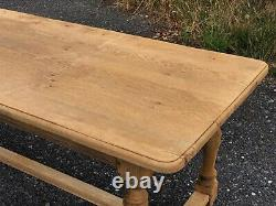 French Bleached Oak Refectory Farmhouse Dining Table C1870 Kitchen Rustic