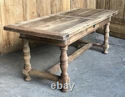 French Bleached Walnut Rustic Farmhouse Kitchen Dining Table Circa 1850