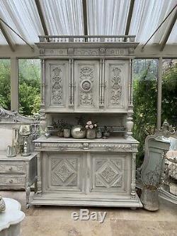 French Carved Hunters Cabinet Dresser Sideboard Large Walnut Buffet Henri ll