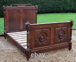 French Carved Oak Small Double (4 feet wide) Bed with Base