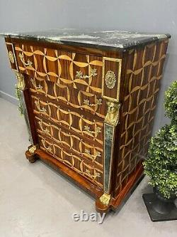 French Design Chest Of Drawers Marquetry Inlaid Gilt Ormolu Mounting Marble Top