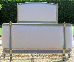 French King Size 5ft wide Double Bed with New Laura Ashley Dove Grey Upholstery