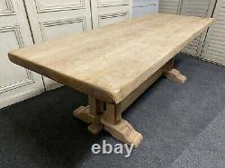 French Large Bleached Oak Refectory Farmhouse Dining Table C1870