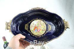 French Limoges Porcelain Bowl centerpiece Victorian romantic scene