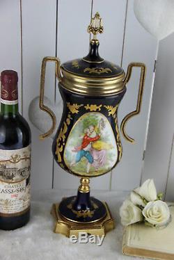 French Limoges cobalt blue porcelain marked Lidded Vase romantic victorian scene