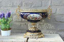 French Limoges cobalt porcelain Centerpiece bowl vase victorian devil satyr base