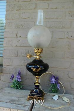 French Limoges cobalt porcelain Table lamp Romantic victorian scene