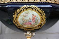 French Limoges cobalt porcelain centerpiece lidded bowl vase Victorian scene