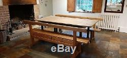 French Oak Scrub Top Refectory Dining Table, c1860