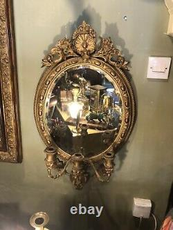 French Oval Antique Gilt Wall Mirror Girandole Candle Sconce