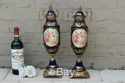 French PAIR Victorian romantic Vases cobalt blue limoges porcelain