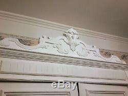 French Paint Double 2 Door Armoire Wardrobe Knockdown Linen Cupboard Solid Wood