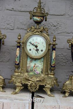 French Porcelain Clock set urns vases victorian romantic scenes